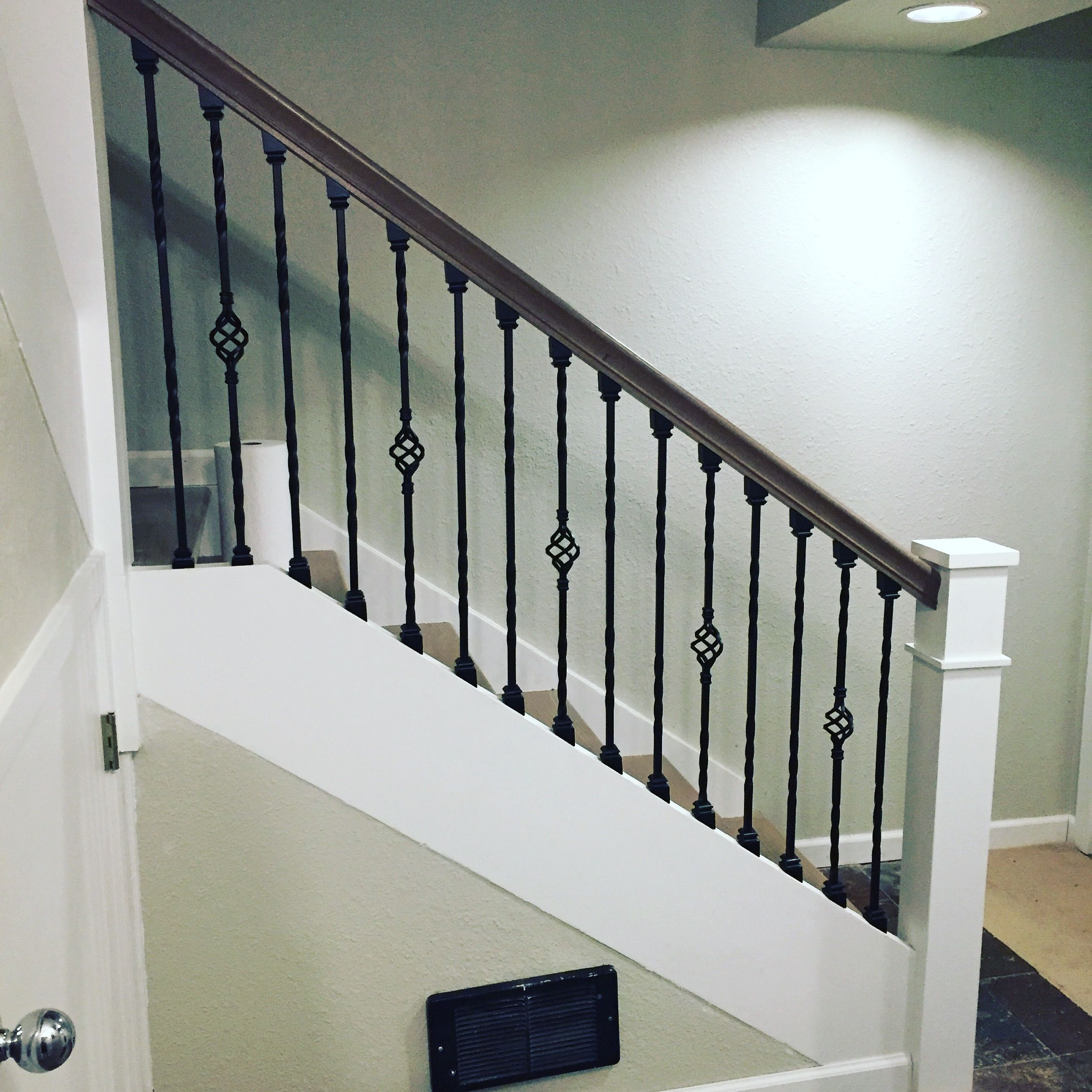Charmant Wrought Iron Stair Balusters With Double Twist And Single Basket. White  Newell Posts And Custom White Oak Gray Stained Handrail And Stair Treads