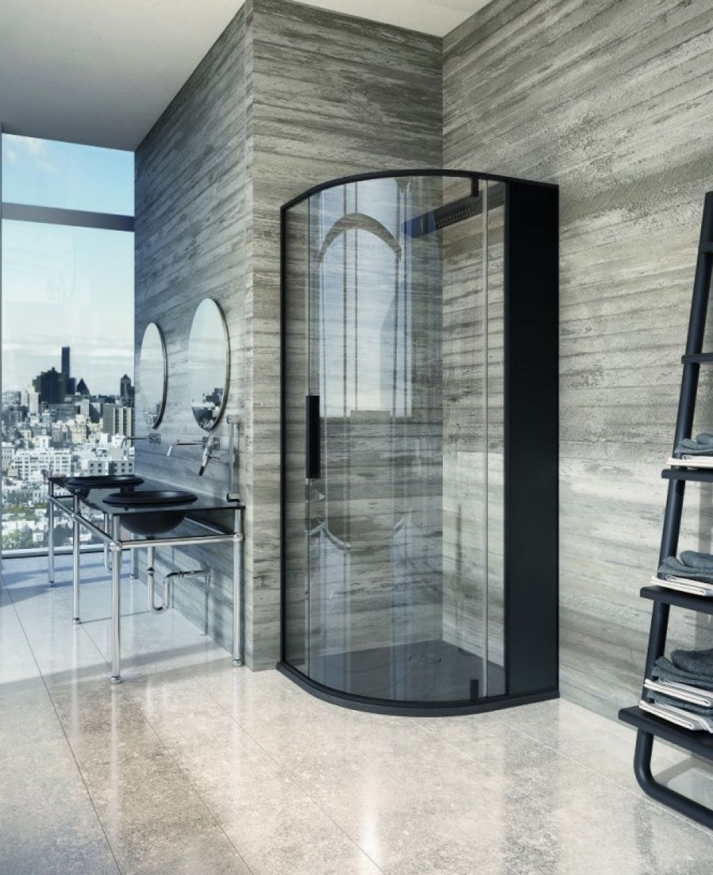 Glass Shower Enclosure With Black Frame … | Bathroom…