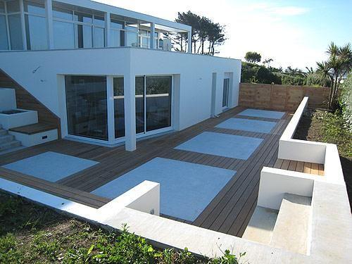 Terrasse bois et jardinières en béton ** EXTÉRIEUR ** Pinterest - Dalle De Beton Exterieur