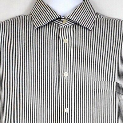 This Striped Shirt Features 100 Percent Cotton Non Iron Material Navy Blue And White 32 33 Sleeve 100 Percen In 2020 Non Iron Dress Shirts Shirts Mens Shirt Dress