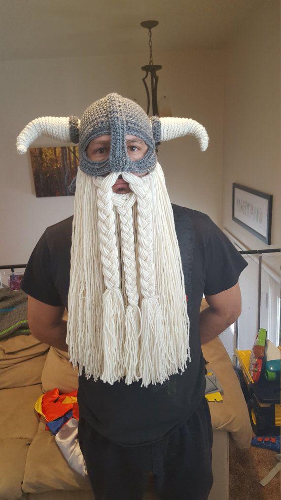 Crochet pattern for viking hat helmet with beard | Pinterest