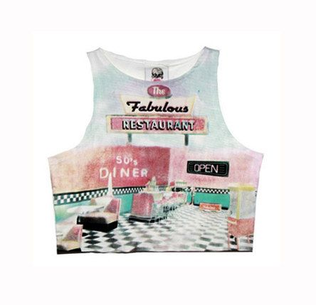 90s  style crop top tank tshirt retro clueless new by MolaLALA, $20.00