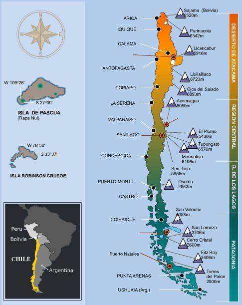 Una mapa con las zonas, montañas y islas de Chile. - Ashwati N.