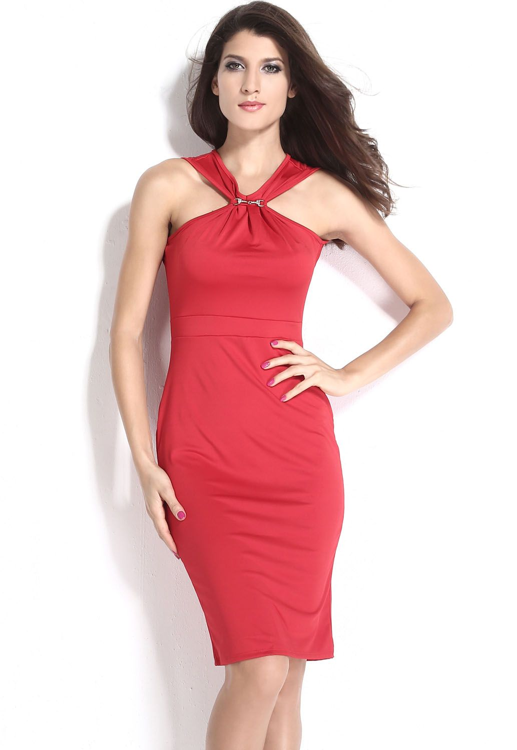 Halter Neck Red Midi Bodycon Dress Knee Length Curve Clinging ... 67d817bff