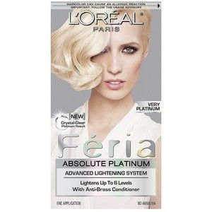L'Oreal Paris Feria Absolute Platinum Advanced Lightening System with Anti-Brass Conditioner Very
