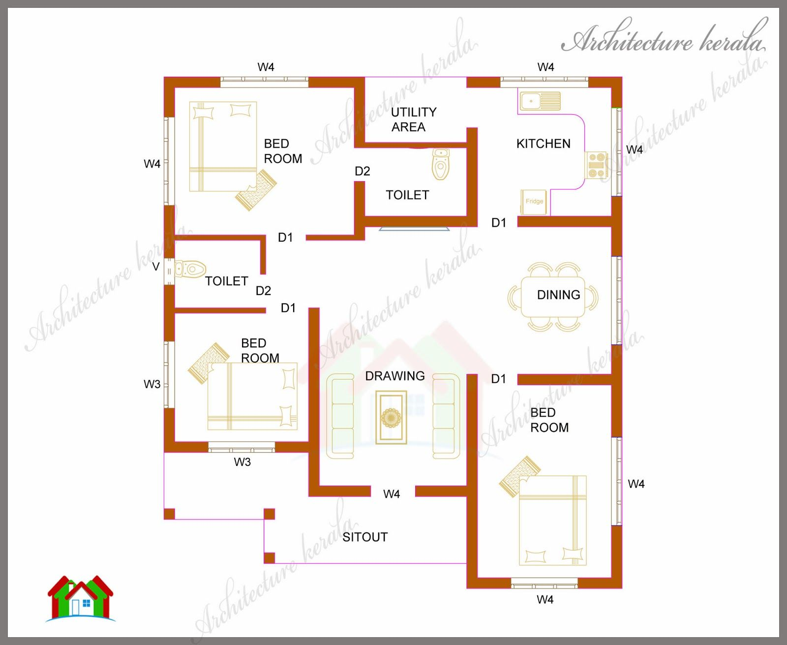 1200 sq ft house design 3 bedroom