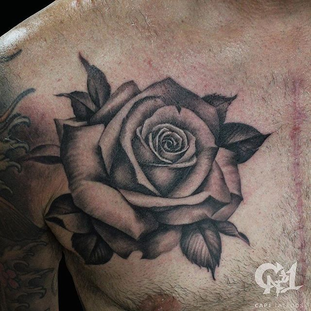Black And Grey Rose Chest Piece Wwwcap1tattooscom Rosetattoo