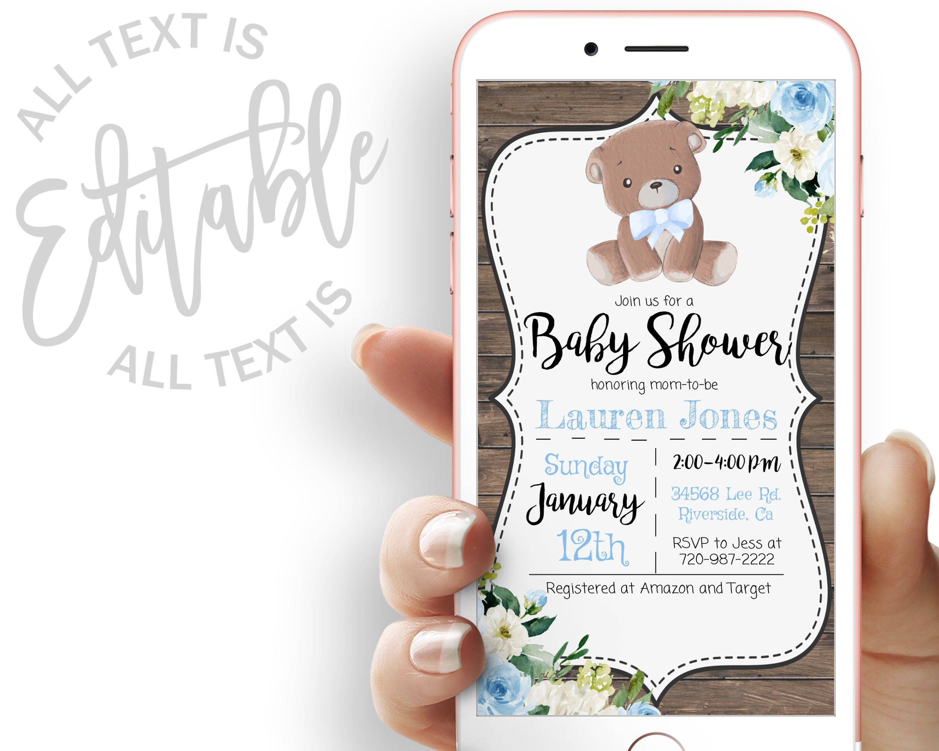 Blue Bear Baby Shower Evite We Can Bearly Wait Baby Shower Etsy Electronic Invitations Printable Invitations Invitations