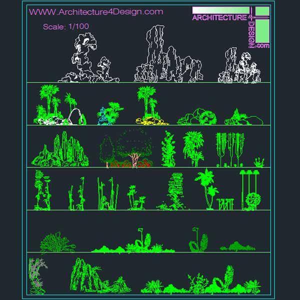 Garden Design Dwg : Landscape design collection designs symbols and details for