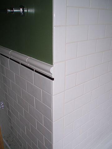 Ending Chair Rail At An Outside Corner Ceramic Tile Advice Forums John Bridge Ceramic Tile Chair Rail Shower Tile Designs Bathroom Remodel Small Shower