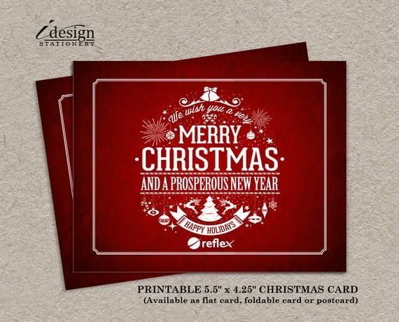 Business Christmas Card Printable Corporate Holiday Card With Logo