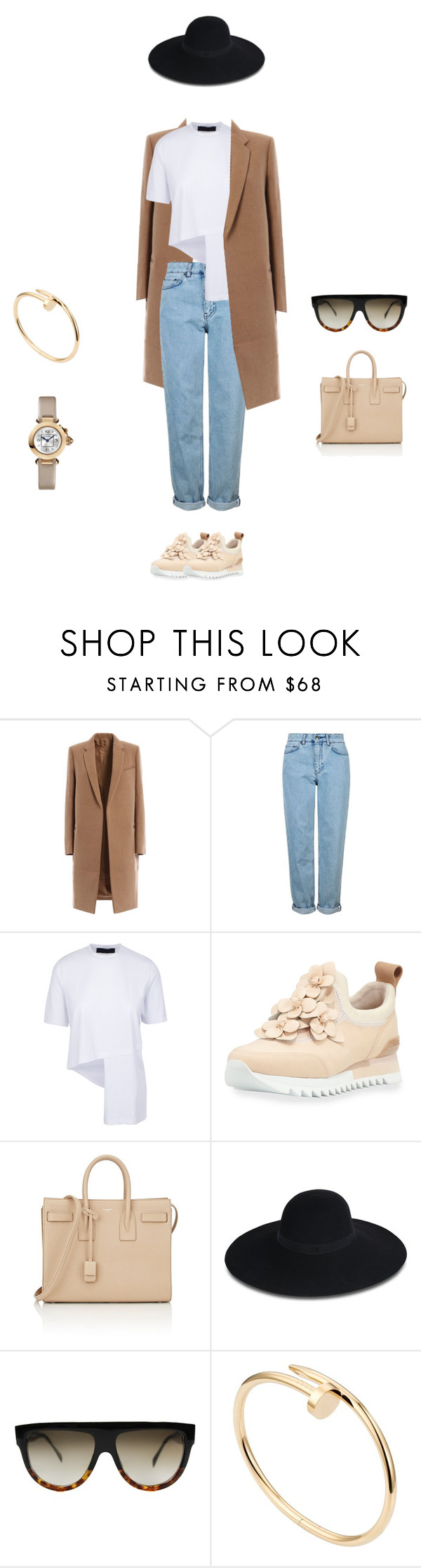 """Sans titre #249"" by fashianlover ❤ liked on Polyvore featuring Topshop, Tory Burch, Yves Saint Laurent, Maison Michel, CÉLINE and Cartier"