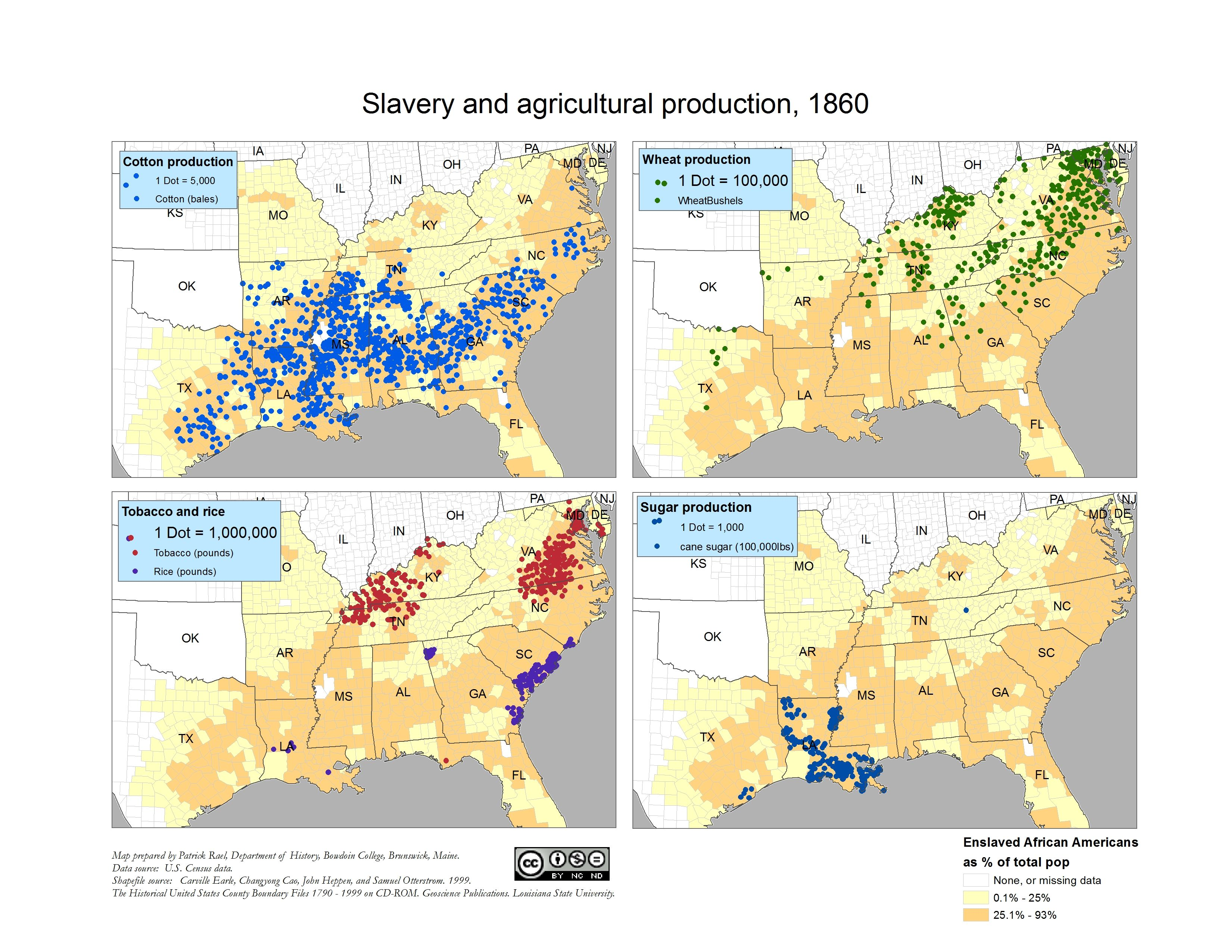 1860) Slavery and Agricultural Production   Historical maps ...
