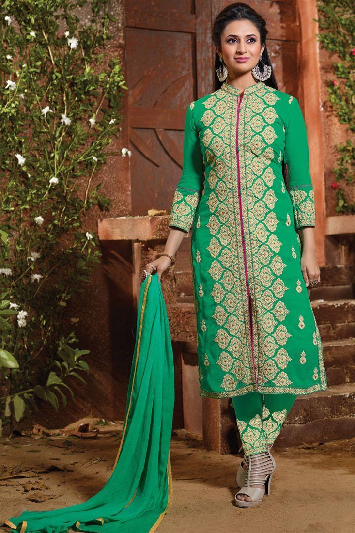 9978f5e051 Divyanka Tripathi Green Color Designer Salwar Sui   Celebrity ...