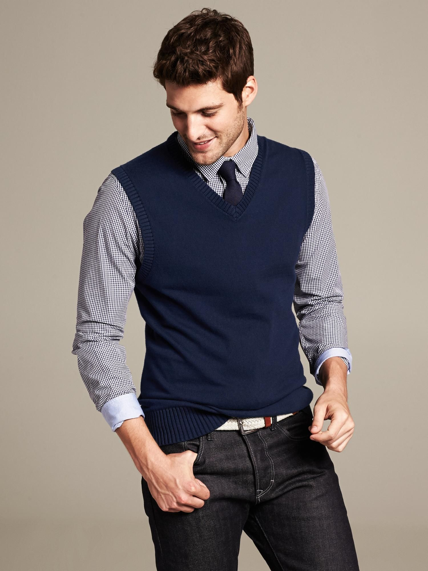 Various hints of blue look great on any man. #sweatervest ...
