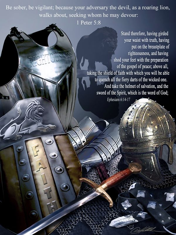 """Armor of God."""" Inspirational Christian art poster print by Danny Hahlbohm.  Copyrighted by the artist. All rig…   Armor of god, Christian warrior, Spiritual warfare"""