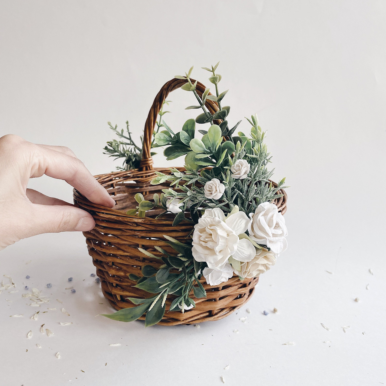 twig basket Flower girl basket basket with flowers small basket rustic basket white baskets ivory baskets wicker basket