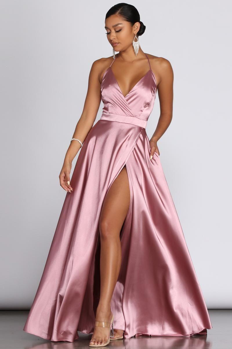 Ellie Formal Satin High Slit Dress – Windsor