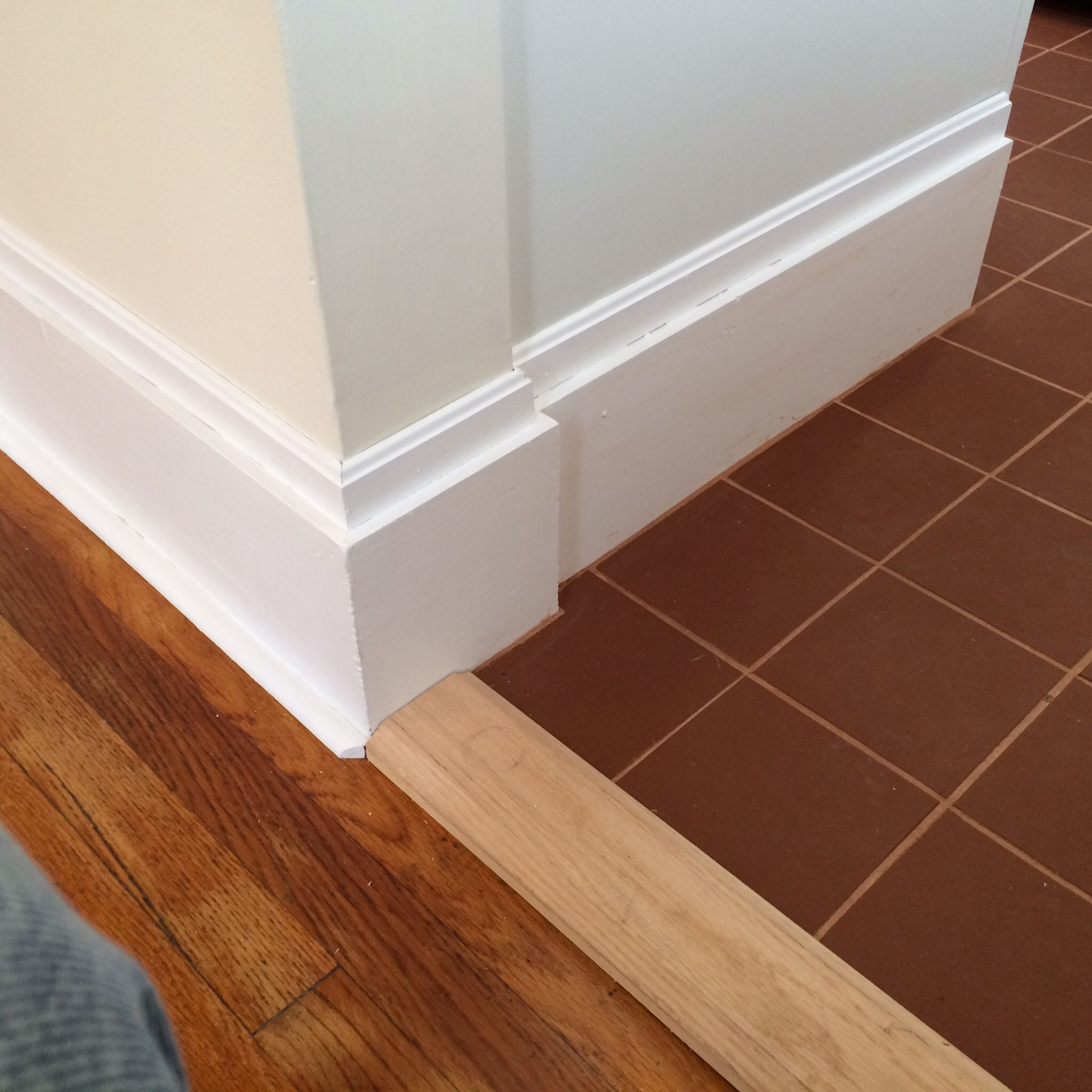 Terra cotta tiled kitchen floor and updated baseboard moulding terra cotta tiled kitchen floor and updated baseboard moulding dailygadgetfo Image collections