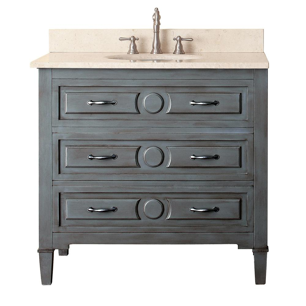 Avanity Kelly 37 In W X 22 In D X 35 In H Vanity In Grayish Blue With Marble Vanity Top In Galala Beige And White Basin Kelly Vs36 Gb B The Home Depot In