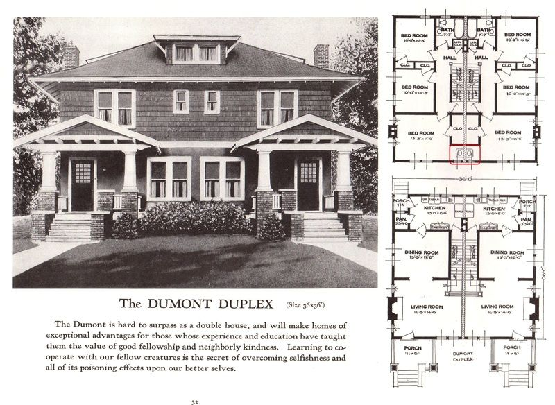 Dumont Duplex 1920s Sears Homes Floor Plans