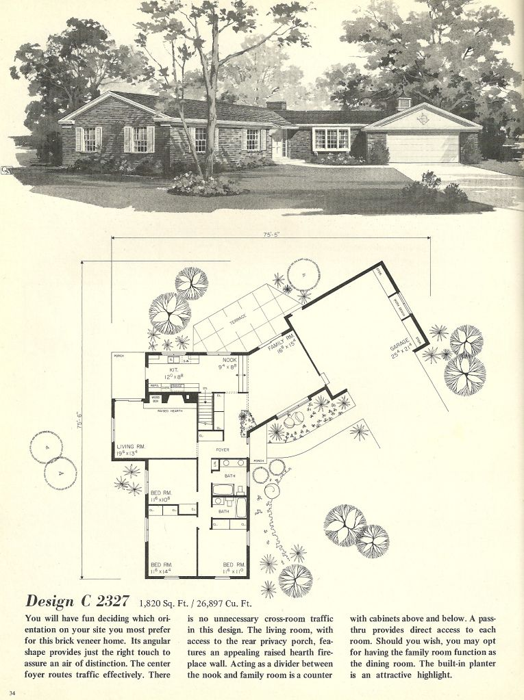 Vintage House Plans 2327 Mid Century Modern House Plans Vintage House Plans House Plans