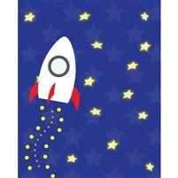 Rocket into Space Printed Backdrop