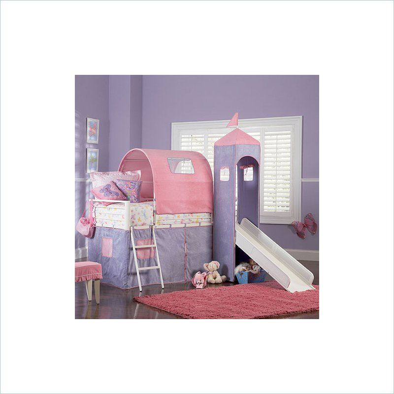 Powell Furniture Princess Castle Twin Metal Loft Bed With Slide