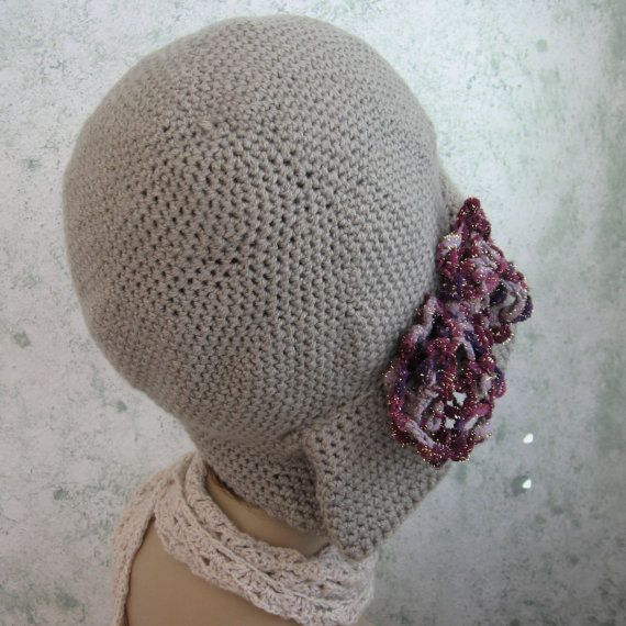 Crochet Pattern Womens Hat Flapper Style Hat With Pleats And Bow ...