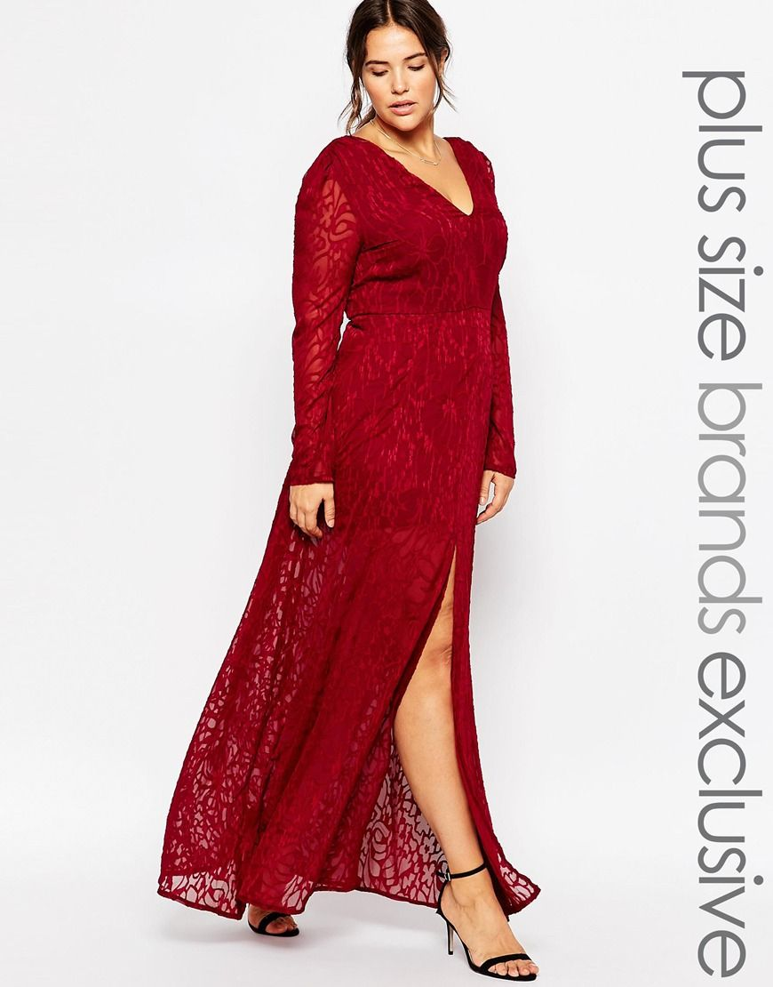truly you lace maxi dress with thigh split at asos