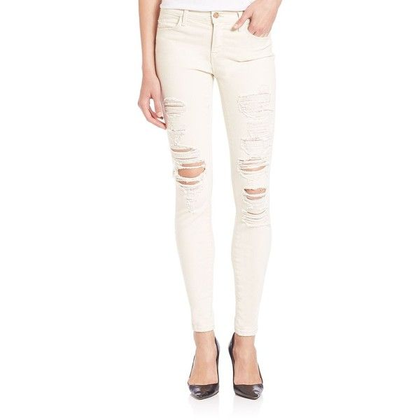 J BRAND Distressed Mid-Rise Super Skinny Jeans/Divo ($120) ❤ liked on Polyvore featuring jeans, pants, apparel & accessories, divo, j brand skinny jeans, skinny jeans, white destroyed skinny jeans, destroyed skinny jeans and destructed skinny jeans
