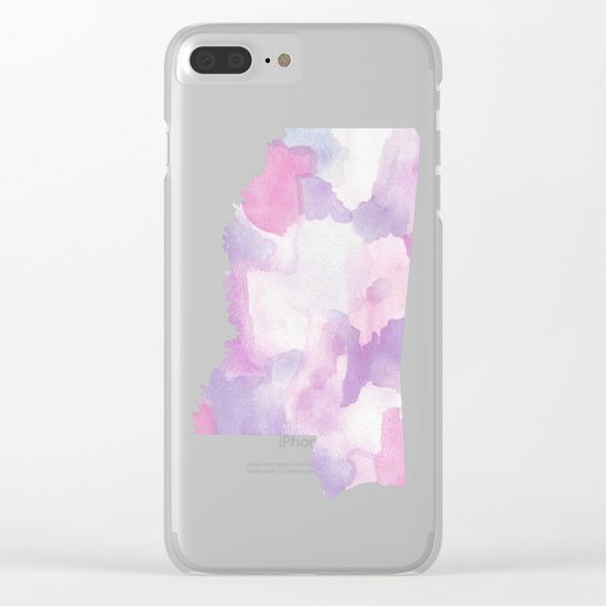 Watercolor State Map - Mississippi MS purples Clear iPhone Case by Rocky.rivers  | Society6
