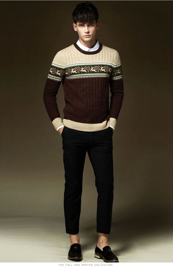 New mens fashion sweater Classic deer pattern sweater