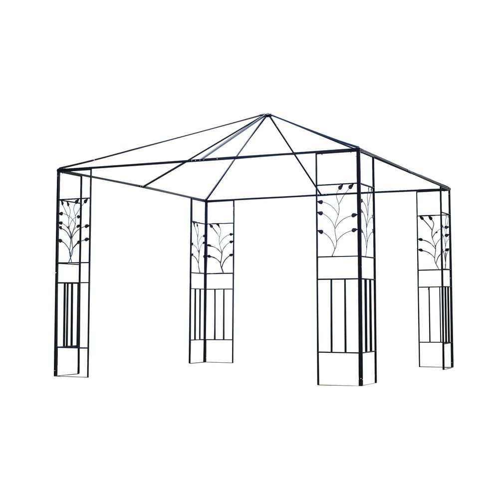 Outsunny Gazebo Frame 10 X 10 Steel Stylish Outdoor Patio Canopy Heavy Duty Gazebo Patio Canopy Steel Gazebo