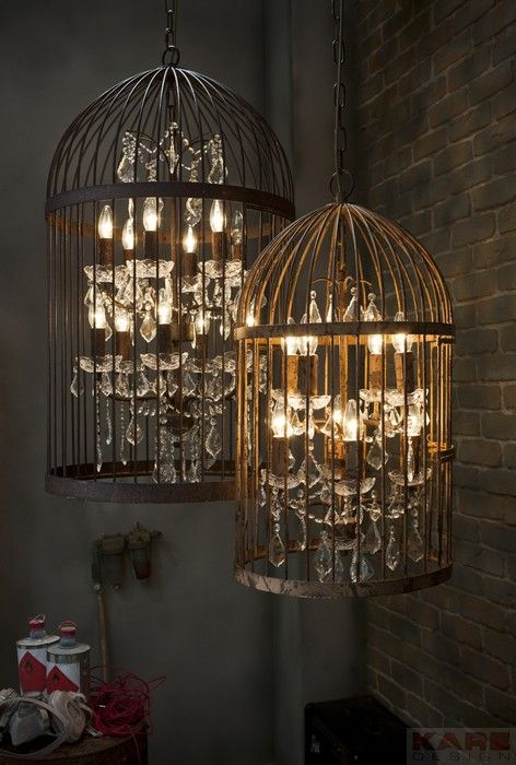 pendant lamp cage chandelier by kare design kare karedesign lamp industrial style. Black Bedroom Furniture Sets. Home Design Ideas