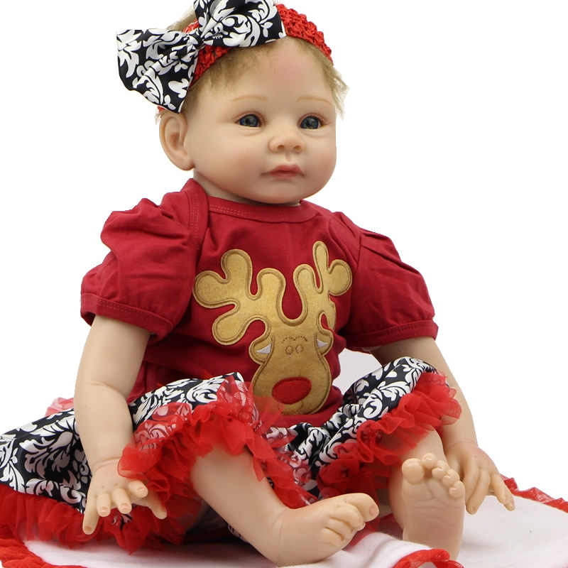 82.59$  Watch here - http://alihyn.worldwells.pw/go.php?t=32640938576 - 22 Inches NPK Collectible Reborn Baby Doll Soft Silicone Newborn Babies Looks So Truly As Birthday Gifts Free Pacifier