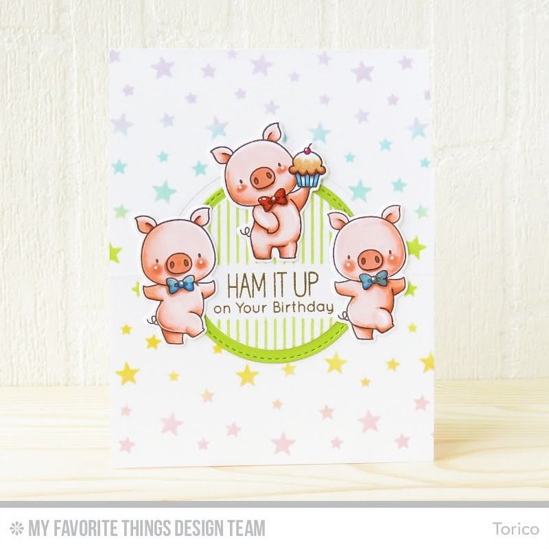 Hog Heaven, Hog Heaven Die-namics, Pinstripe Background, Flop Card - Circle Die-namics, Circle STAX Set 1 Die-namics, Pop-Up Birthday Die-namics, Blueprints 13 Die-namics - Torico #mftstamps