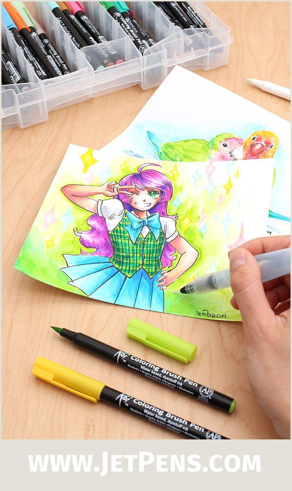 The Sakura Koi Coloring Brush Pens Will Add Vibrant Color To Your Comics Illustrations Or Coloring Book Pages Writing Art Coloring Brush Pen Brush Pen