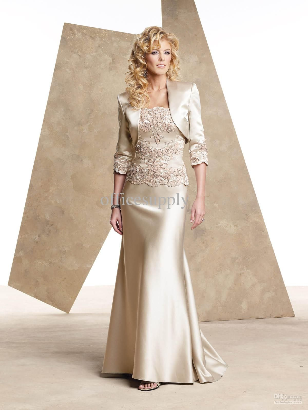 50590fde67a Wholesale 2012 DHgate New Style Discount Strapless Champagn Sheath Bolero  Mother of the Bride Dress 18912