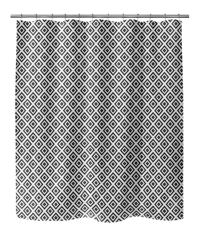 Photo of DIAMOND MAZE BLACK Shower Curtain By Terri Ellis – 70in x 90in