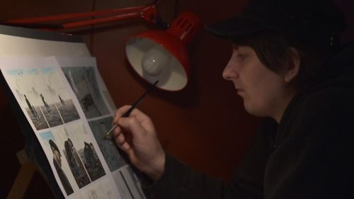 Miroslav Sekulic-Struja dans son atelier de la Maison des auteurs, Angoulême - Photographie Alain François