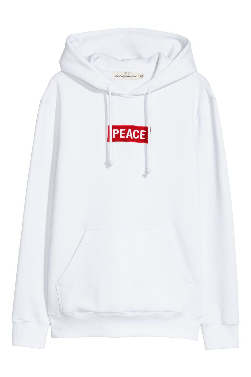 b97ac2cde Hooded Sweatshirt with Motif   White/Peace   MEN   H&M US   RTL.H&M ...