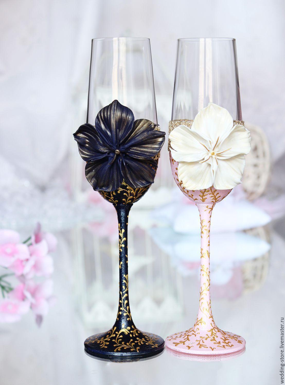 Blush Pink And Dark Blue Wedding Toasting Gles Snowflake Champagne