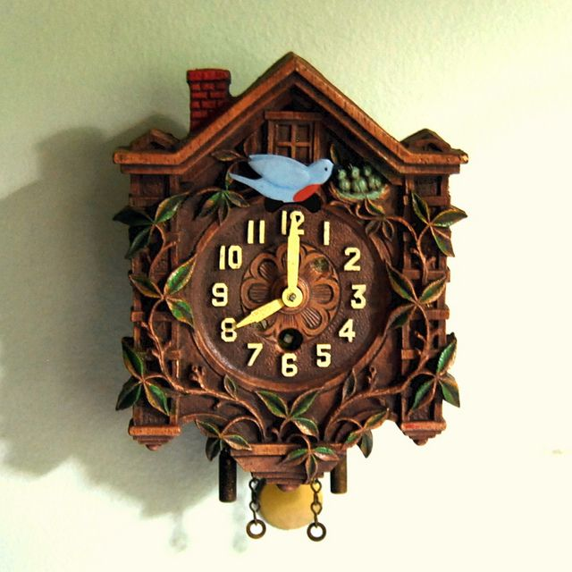 1930s Vintage Lux Pendulette Clock With Animated Bluebird Clock