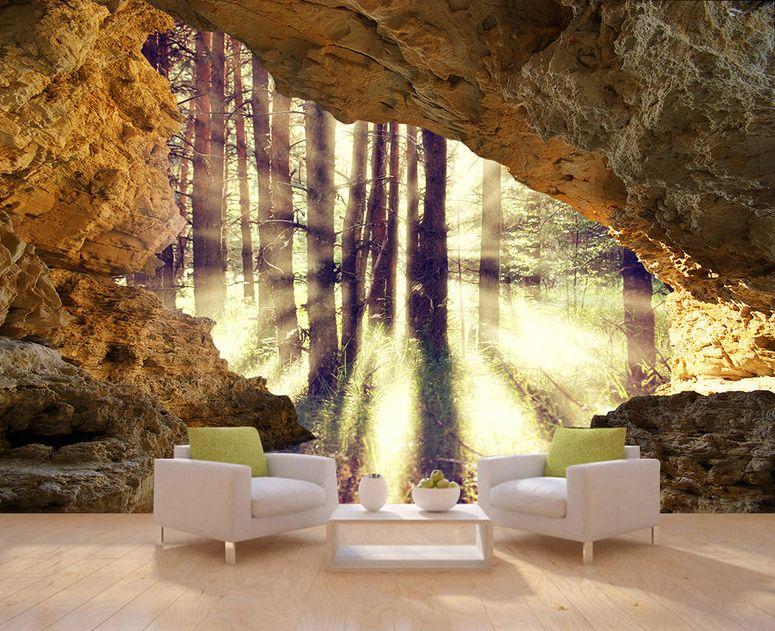 papier peint photo trompe l 39 il 3d trou dans le mur. Black Bedroom Furniture Sets. Home Design Ideas