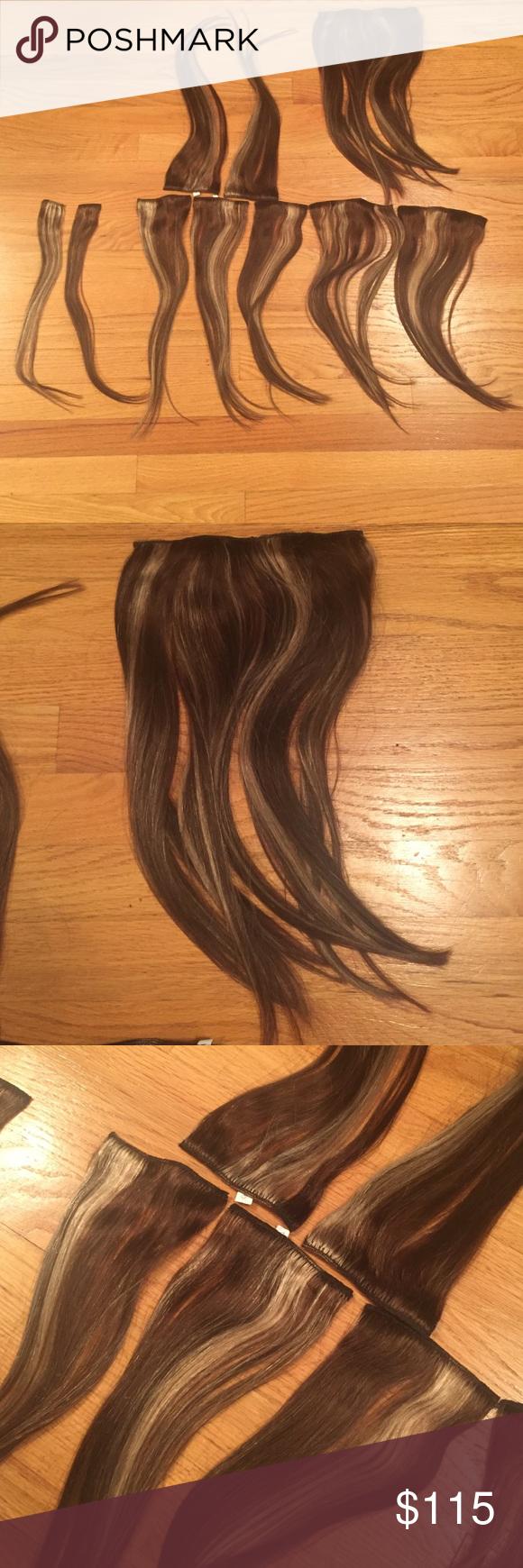 Headkandy Human Hair Extensions Brunette 16 18 Inch Length Human