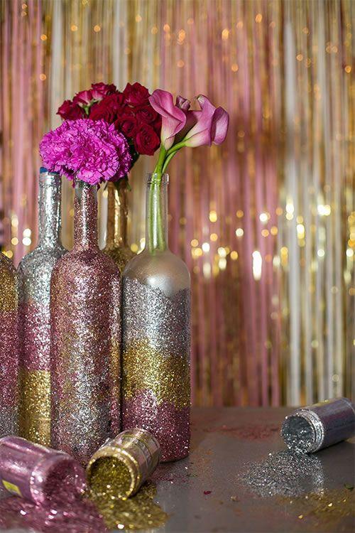 Decorated Wine Bottles Centerpieces Glitter Wine Bottle Centerpieces  For Purim  Purim Party Parade