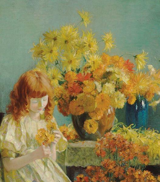 Francis Coates Jones  Menina com flores , óleo sobre tela, 91,4 x 76,2 cm, coleção particular.