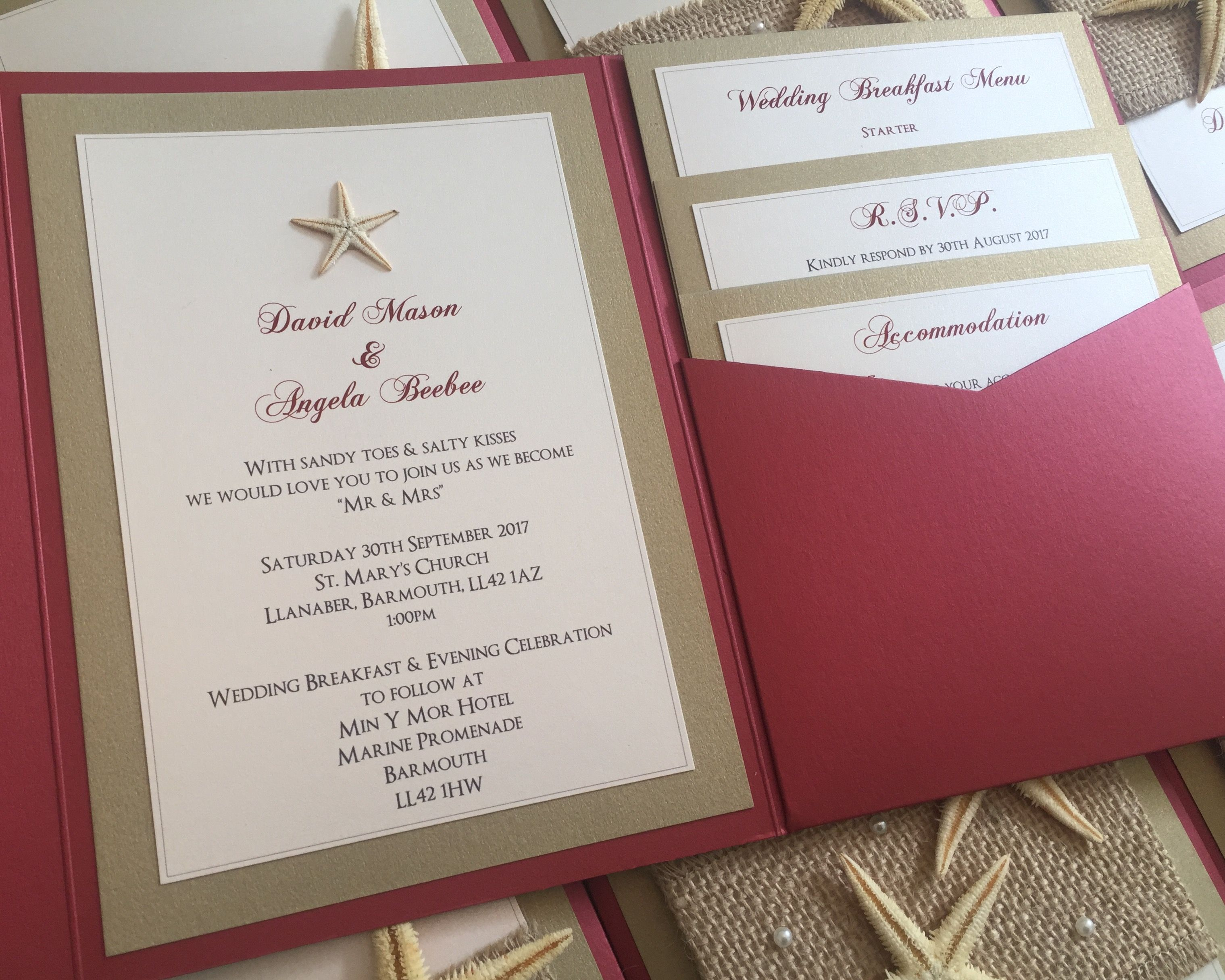 Beach | Starfish | Hessian | Pearl | Pocketfold Wedding Invitations ...