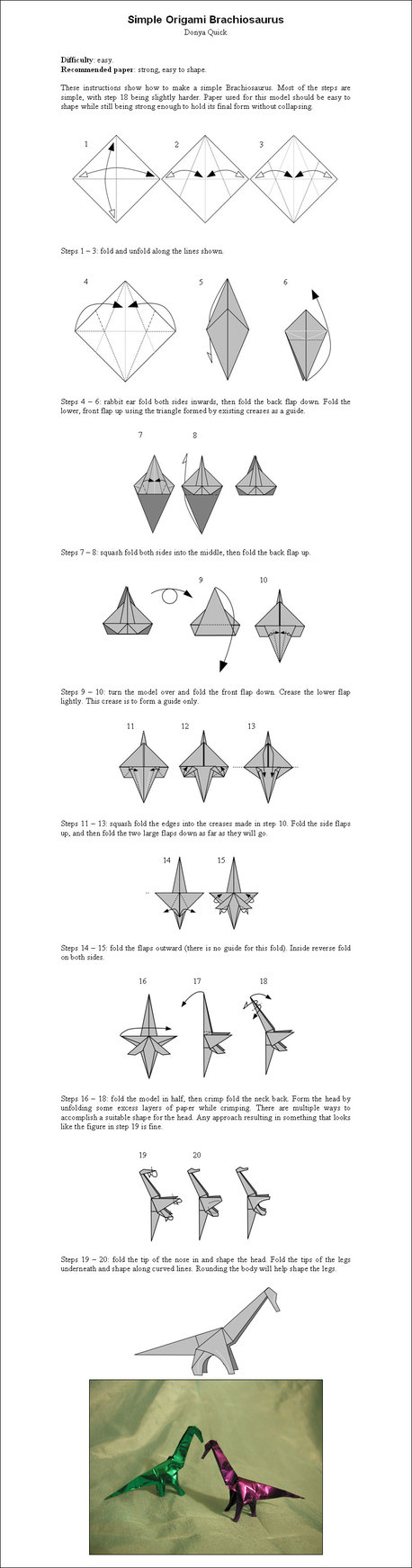 Simple Origami Brachiosaurus By Donyaquick Pinterest Diagrams O Xwing Fighter Diagram Easy Version Money Instructions Tutorial